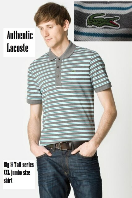 ee8057e9f Lacoste Men s Big   Tall fit 2XL Short Sleeve Stone Gray Stripe Pique ...