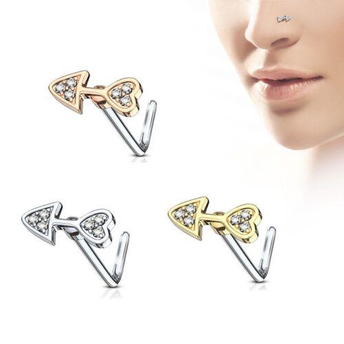 20 g Nez Stud anneau L Bend Shape avec CZ PAVED Flèche Coeur Femme Acier Chirurgical