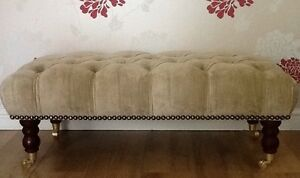 Furniture Generous A Quality Long Deep Buttoned Footstool Laura Ashley Villandry Champagne Fabric