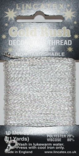 Lincatex Gold Rush Metallic Decorative Glitter Embroidery Thread 10m WHITE