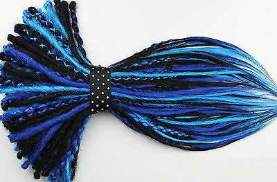 Blue, Black Dread Extension Double Ended, Single Ended Dread, Synthetic Dreads