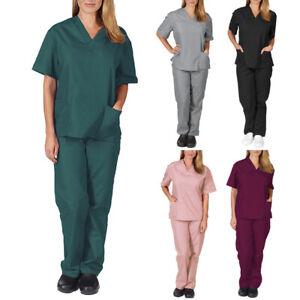 2Pcs Men Women Scrub Suit Hospital Doctor Nurse Medical Working Uniform Workwear