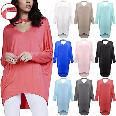 Konstruktiv Ladies Choker Neck Diamante Batwing Loose Jumper Womens Knit Oversized Hilo Top