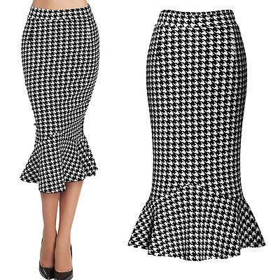 Women Houndstooth Work Business Slim Stretch Fitted Bodycon Pencil Mermaid Skirt