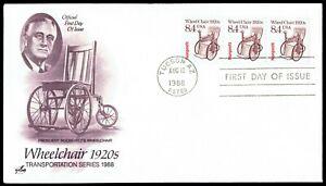US-2256-Wheel-Chair-1920s-Coil-Strip-FDR-Aug-12-1988-Art-Craft-FDC-F2256-1