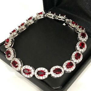 28-74-Ct-Red-Ruby-Diamond-Halo-Tennis-Bracelet-Wedding-Anniversary-Jewelry