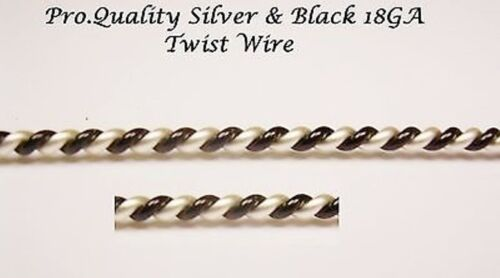 BEAD SMITH WIRE FANCY  DIAMETER TWIST APPROX 1.90 MM  SILVER /& BLACK 5 FT. 18