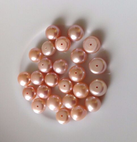 AAA Half Drilled Button  Pink Pearls  Loose 5-6,6-7,8-9,10-11,11-12mm