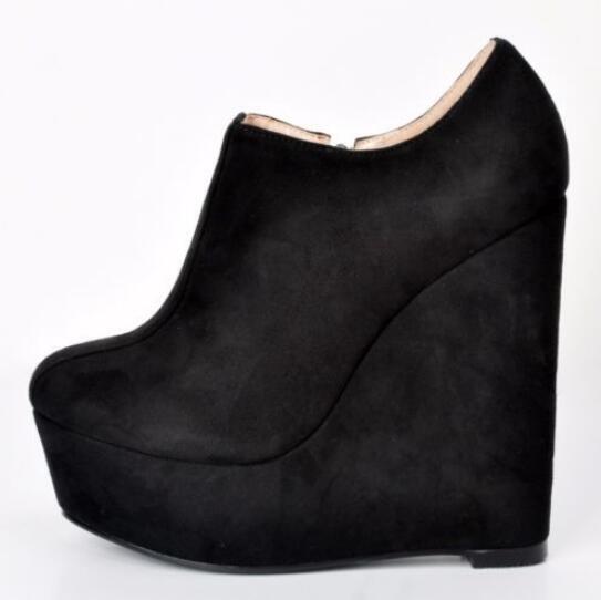 Black Ankle Boots High Platform Round Toe Wedges Black shoes Plus US Size 4-15