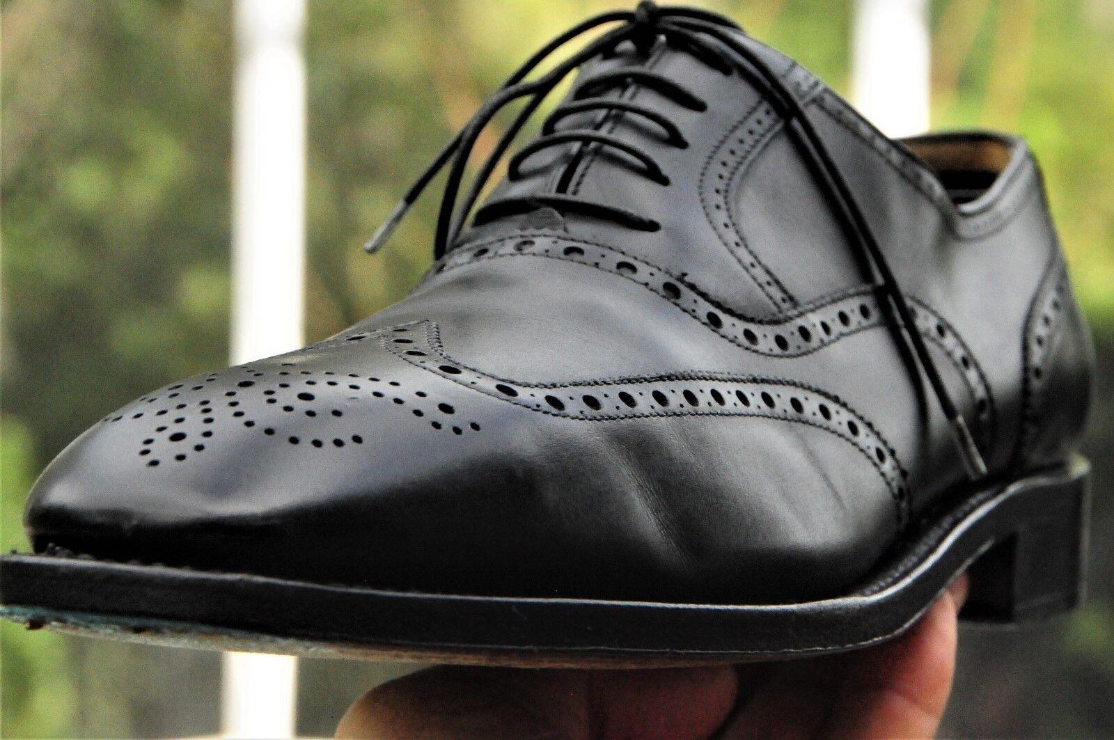 FERRAGAMO LAVORAZIONE TRAMEZZA Negro Cuero fileteado Taza del dedo del pie zapatos