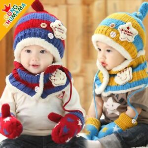 5ba3ee3888bf9 Sales Baby Boys Girls Kids Winter Warm hat scarf gloves set Beanie ...