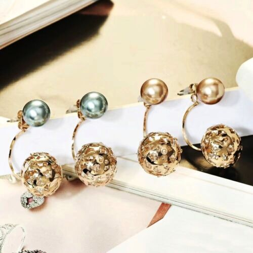 18K Coffee Gold Filled Created Pearl Stylish Double Sided Ear Jackets Earrings