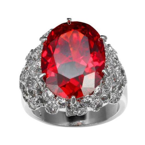 Xmas Holiday Bijoux Cadeau Super énorme feu rouge grenat Gems silver ring Taille 6-10