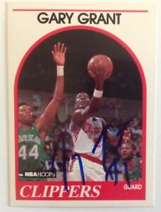 Gary Grant 1989 Hoops Hand Signed Card Los Angeles Clippers