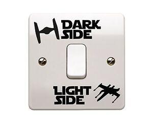 4-x-Star-Wars-Luce-Laterale-Lato-Oscuro-interruttore-della-luce-in-Vinile-Decalcomania-Sticker-stile