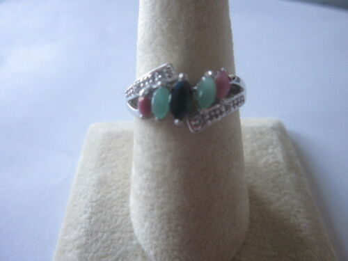 Gorgeous 5 stone Sterling Silver Emerald Ruby Black Sapphire Oval Cut Silver sz9