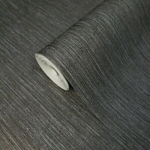 Modern-gray-bronze-silver-metallic-faux-fabric-textured-stria-lines-Wallpaper