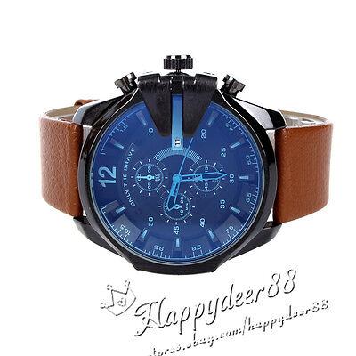 Fashion Men's Watch Analog Sport Steel Case Quartz Date Leather Wrist Watch Gift
