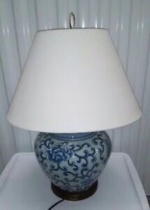 Ralph lauren table lamp blue white ginger jar chinoiserie asian image is loading ralph lauren table lamp blue white ginger jar aloadofball Choice Image