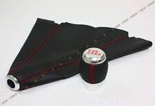 M10 X 1.5 CHROME 6 SPEED SHIFT KNOB RED STITCHING + BLACK LEATHER BOOT FOR HONDA