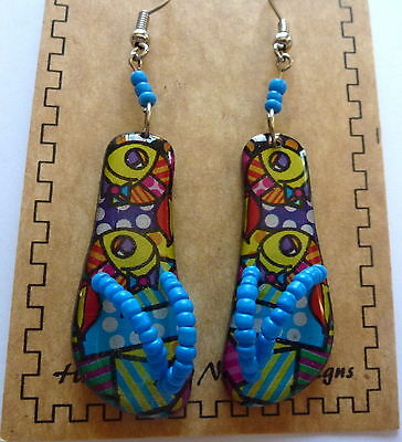Earring Spirit of Nature flip flops- colorful pattern-beads blue yellow purple