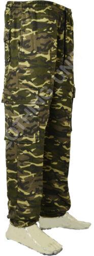 Mens Army Combat Camo Camouflage Jogging fleece Bottoms Trousers Pants  S XXL