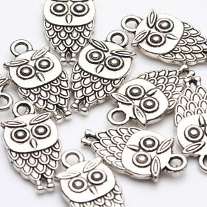 10-20Pcs-Tibet-Silver-Owl-Stand-Charms-Pendentif-Collier-Jewelry-Making-DIY18x9mm