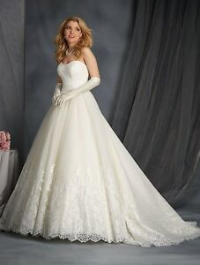 NWT-White-Size-16-Alfred-Angelo-2566-ball-gown-wedding-bridal-dress-lace-top