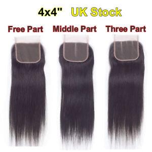 Hair-Parting-Top-Closure-Brazilian-Virgin-Remy-6A-Human-Hair-Swiss-Lace-4x4-034-UK