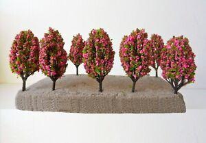Pink Flowering Model Trees 6 cm x 10 Pcs G13 Scenery Model Railway N And Z Scale