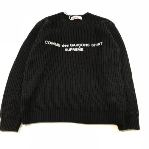 Black Woven Supreme X CDG 18FW Sweater In Great Condition Size L Crew Neck Black