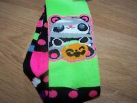 2 Pair Of Girls Halloween Themed Knee High Socks Fits Shoe Size 3-10 Stripes Dot