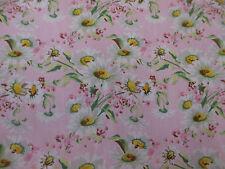 Cute Pink Daisy Summer Floral 100% Cotton Poplin Fabric.