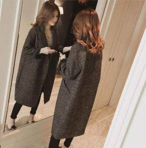Lang Brystjakke Knæ Frakke koreanske Lapel Kvinders Løst Lattice Collar Enkelt qZxASWw1Bv