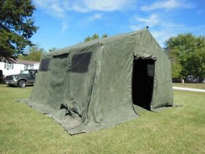 Image is loading MILITARY-BASE-X-TENT-303-ARMY-SURPLUS-270- & MILITARY BASE X TENT 303 ARMY SURPLUS 270 SQ-FT NO LINER YES FLOOR ...