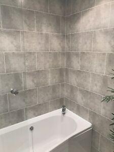 Cutline Grey Tile Effect Bathroom Wall Panels Pvc Shower Wet Wall Cladding Ebay
