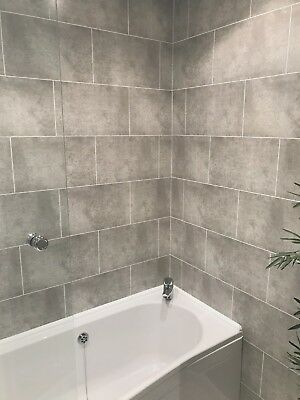 Cutline Grey Tile Effect Bathroom Wall Panels PVC Shower Wet Wall Cladding  | eBay