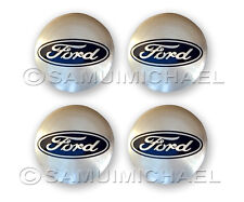 4 X FORD ALLOY WHEEL CENTRE CAPS SILVER 54MM - FOCUS/MONDEO/FIESTA/KA & OTHERS