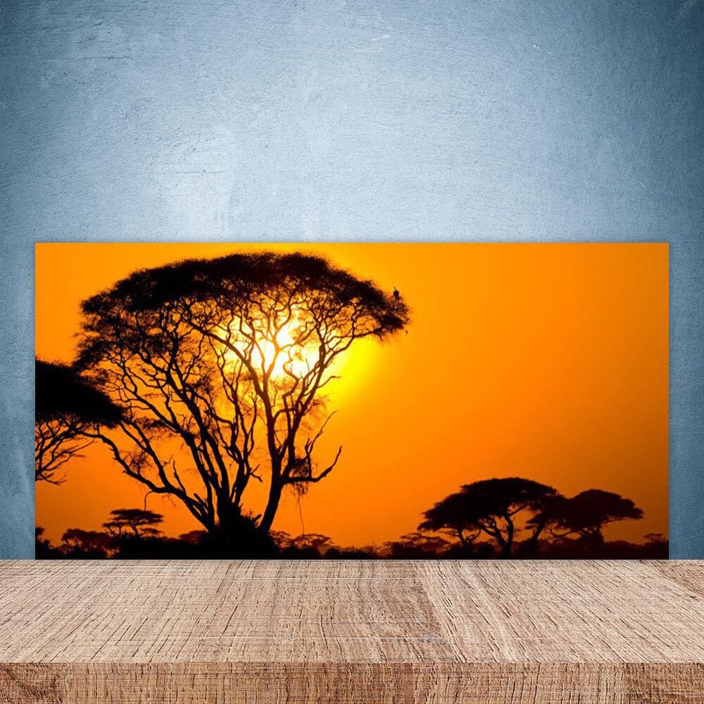 Crédence de cuisine en verre Panneau Paroi 100x50 Nature Arbres Soleil