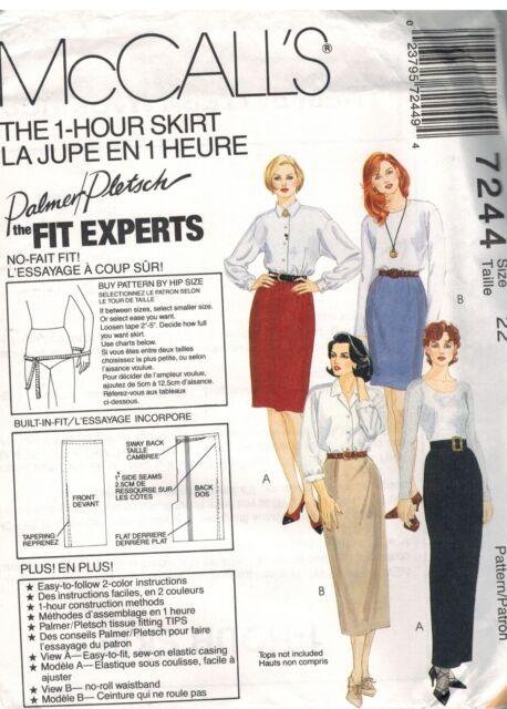 7244 Vintage McCalls SEWING Pattern Misses EASY Skirts UNCUT Palmer Pletsch OOP