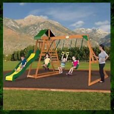 Swing Set Wooden Outdoor Patio Swings Slide Backyard Playground Playset Swingset