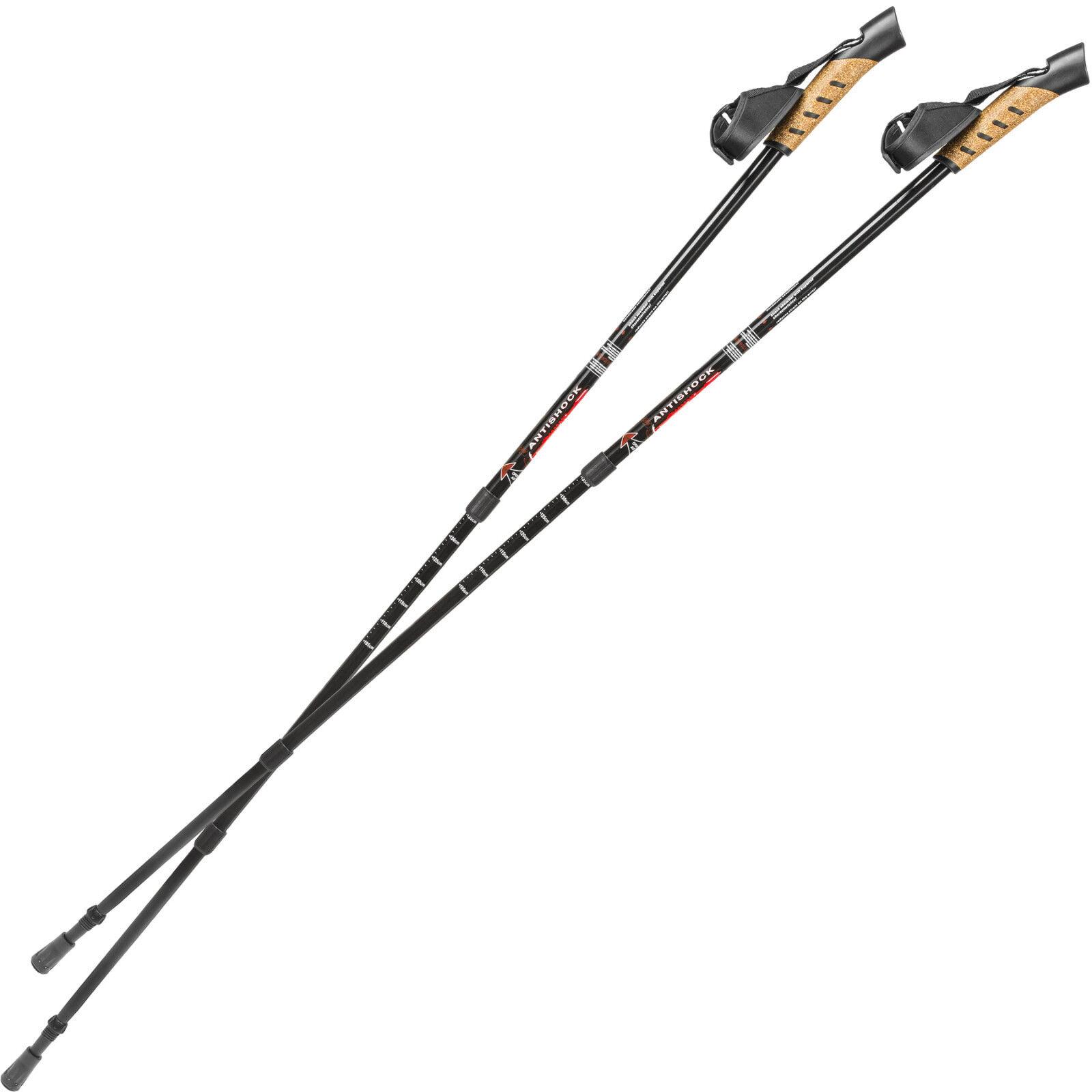 Pair Nordic Walking sticks with anti-shock telescopic poles trekking schwarz new