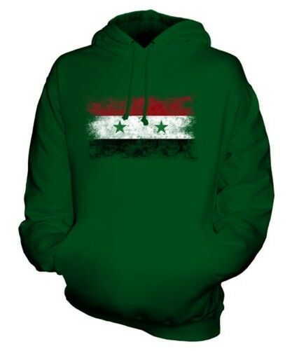 SYRIA DISTRESSED FLAG UNISEX HOODIE TOP SURIYAH FOOTBALL SYRIAN GIFT