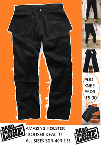Nucleo-duro-Grano-Resistente-Pantalones-De-Trabajo-Bolsillos-Cargo-Estilo-Funda-Negro-Rodilla-Pkt