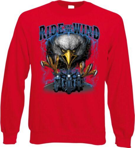 Sweatshirt rot HD V Twin Biker Chopper/&Old Schoolmotiv Modell Ride Like The Wind