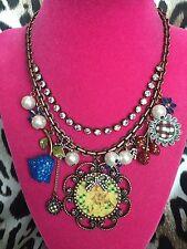 Betsey Johnson Vintage Cherub Lamb Little Girl Rose Angel Flower Necklace RARE