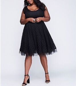 LANE-BRYANT-WOMEN-039-S-BLACK-LACE-W-TULLE-HEM-FIT-amp-FLARE-LINED-DRESS-PLUS-Sz-16