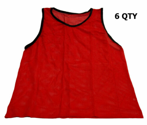 6 QTY CHEAP SOCCER PINNIES MESH BIBS WORKOUTZ YOUTH SCRIMMAGE VESTS RED