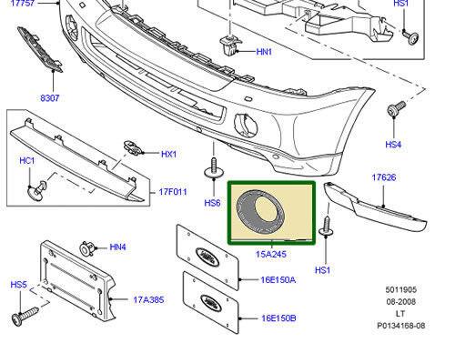 LAND ROVER FOG LAMP BEZEL FRONT BUMPER R R SPORT 05-09 RH OEM NEW DXB000221LML