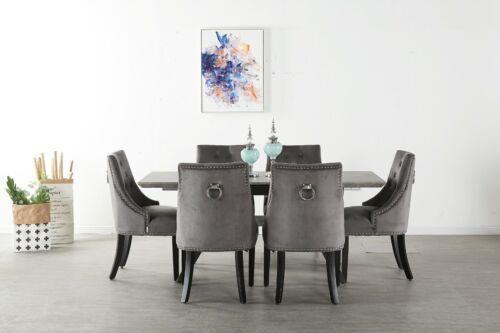 Windsor Tufted Studded Velvet Dining Accent Chair Victoria Door Knocker 1//2//4//6